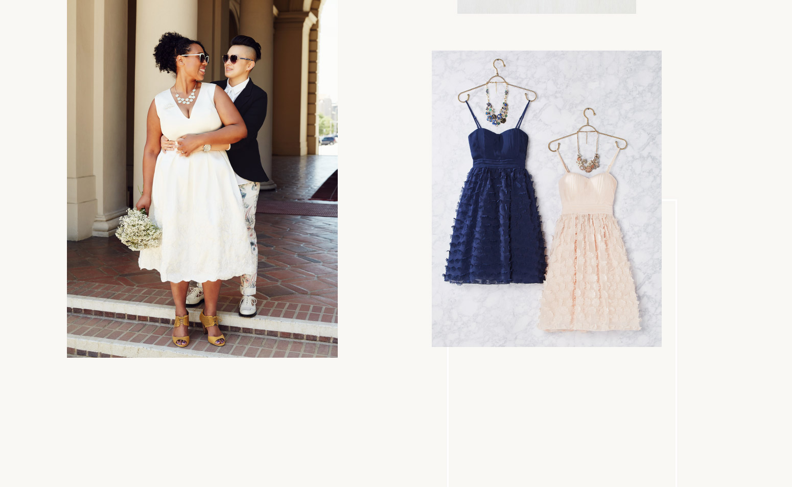 Newlyweds in love & and blue & pink wedding-party dresses