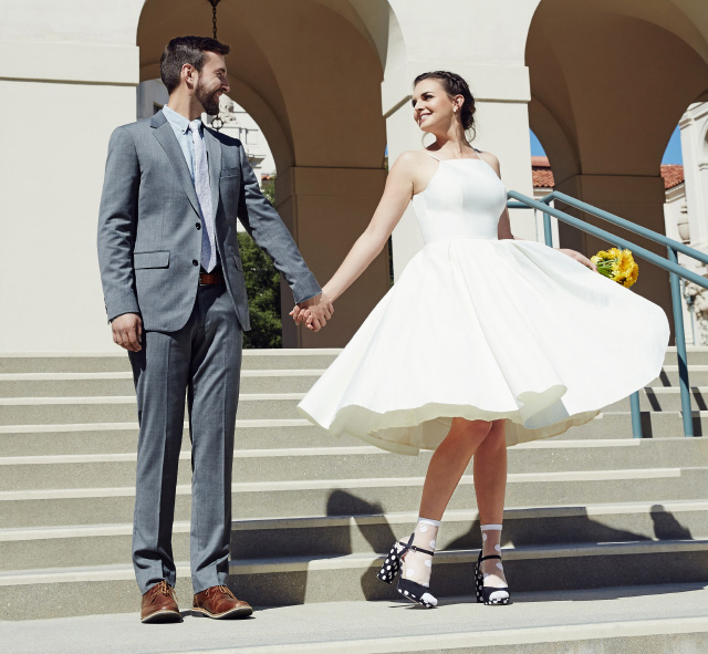 Just married, on the town.